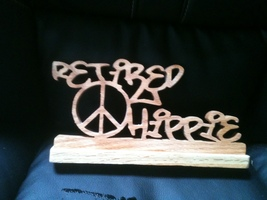 Wooden peace retired hippie sign display - $16.00