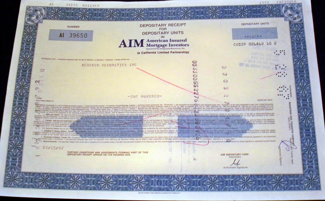 Investment Tycoons! AIM Stock Certificate, 1980's