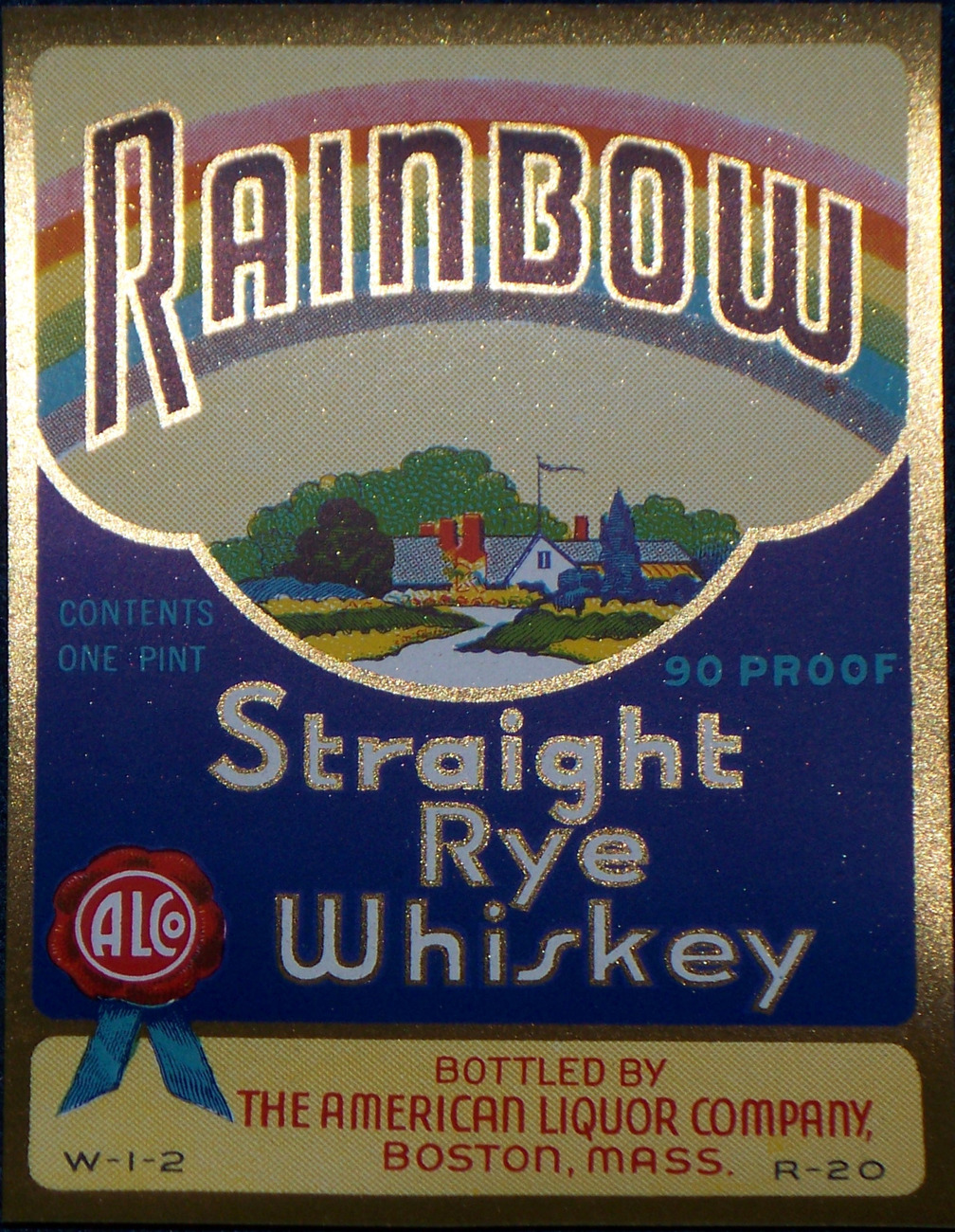 Large Pot of Gold! Rainbow Whiskey Label, 1930's