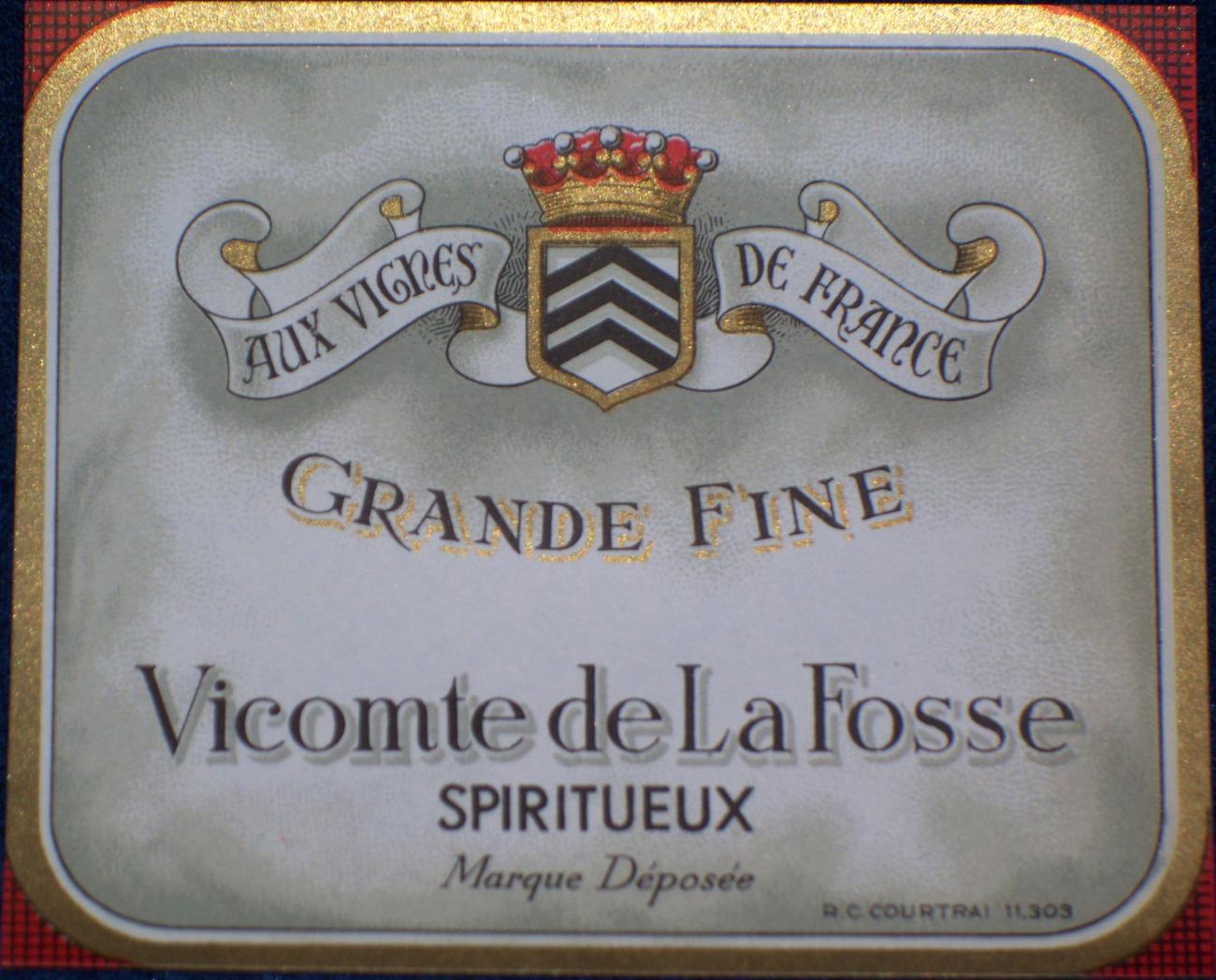 Elegant Litho! Vicomte de la Fosse ( Wine ) Label 1930s