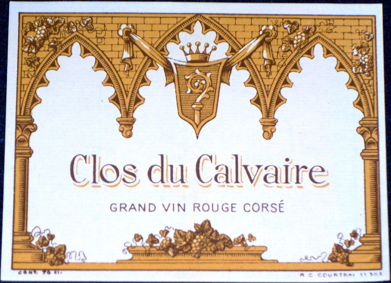 Grape Memorial?! Clos du Calvaire ( Wine) Label, 1930's