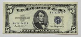 1953 $5 Silver Certificate Five Dollars Note B97925663A FR#1655 - $29.69