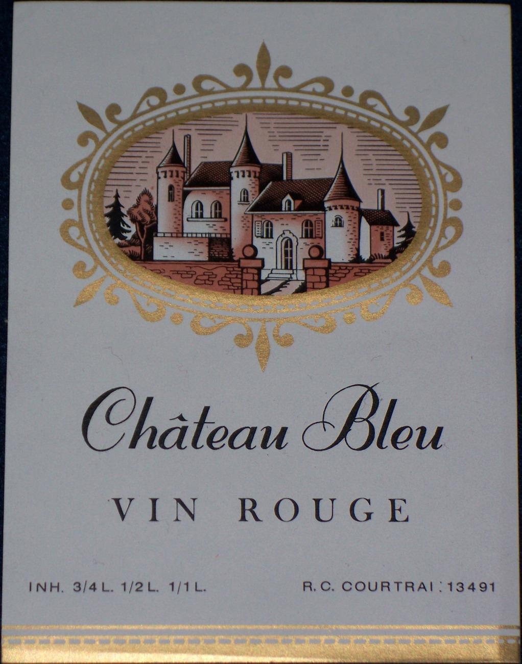 Majestic Castle! Chateau Bleu (Wine) Label, 1930's