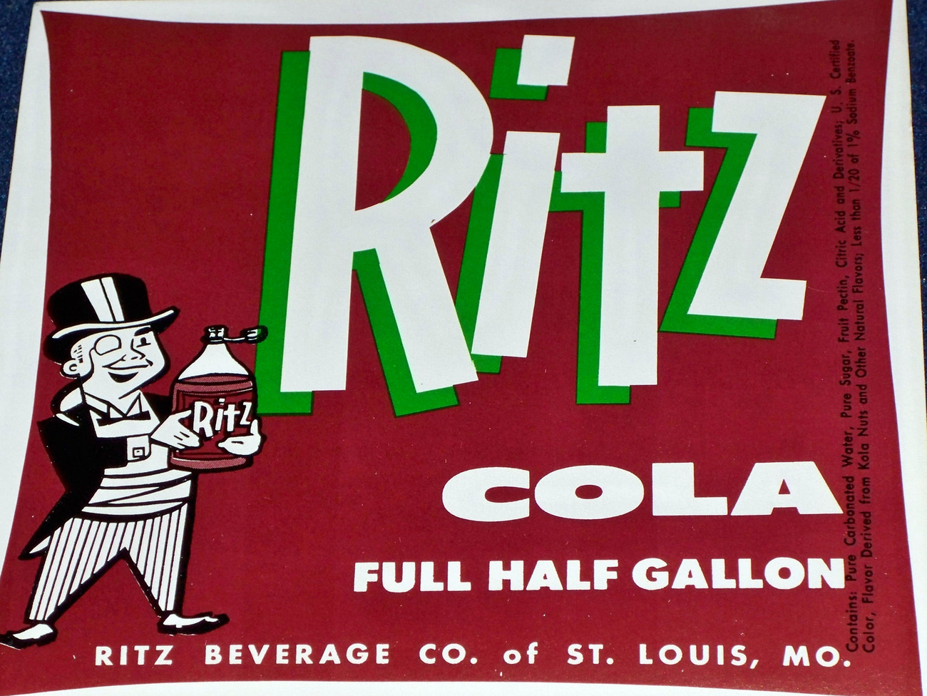 Attractive and Bold! Large Ritz Cola Label, 1950's