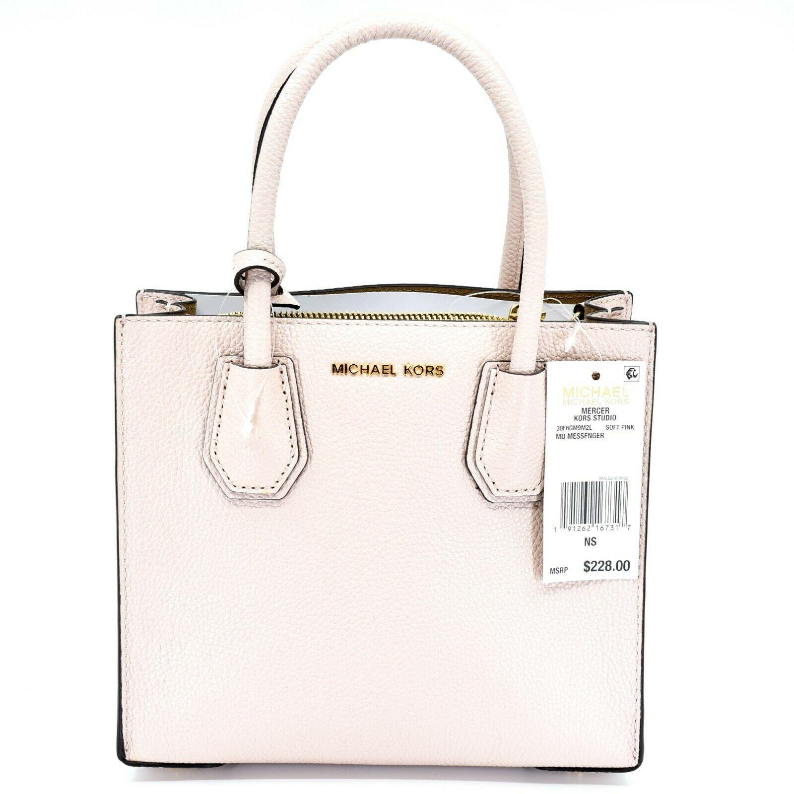 Michael Kors Mercer Soft Pink Pebbled Leather Medium Crossbody Messenger Bag