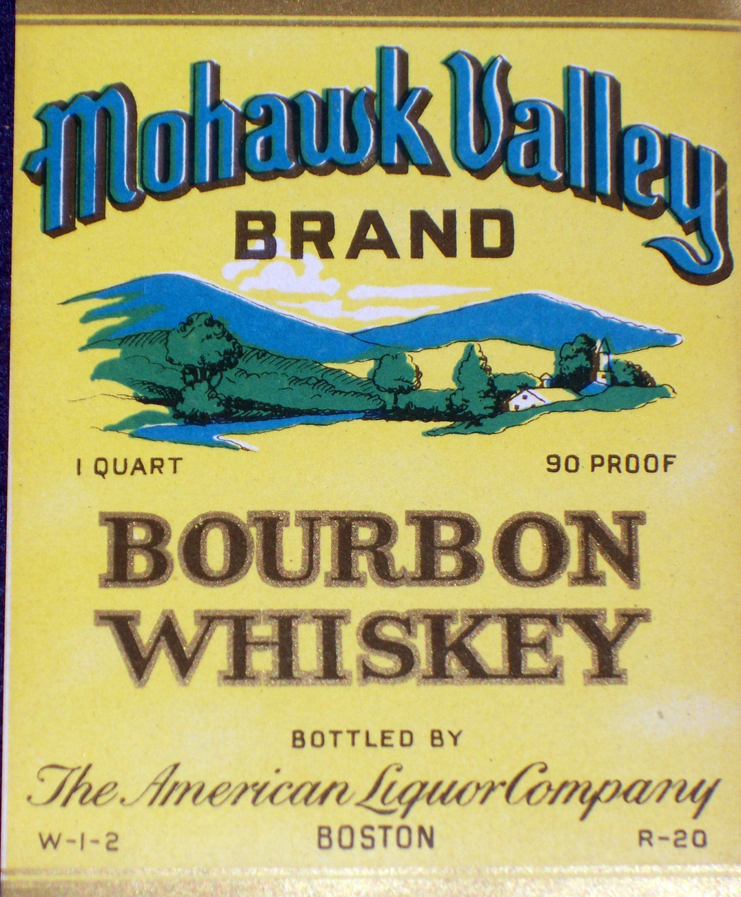 Striking! Mohawk Valley Bourbon Whiskey Label, 1930s