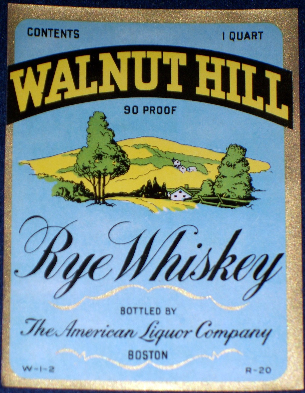 Picturesque! Walnut Hill Rye Whiskey Qt. Label, 1930's