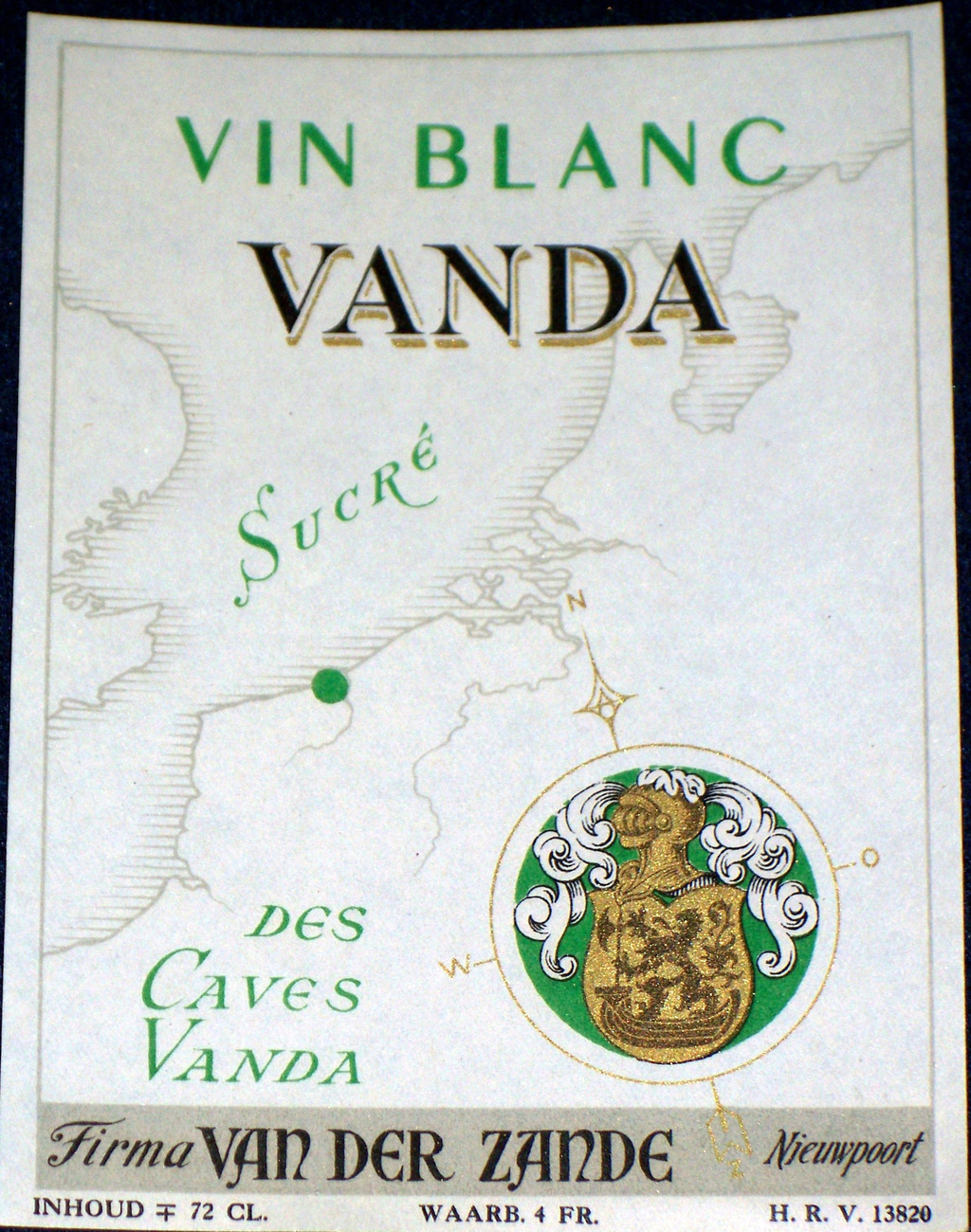 Coat of Arms! Vanda vin Blanc (White Wine) Label, 1930s