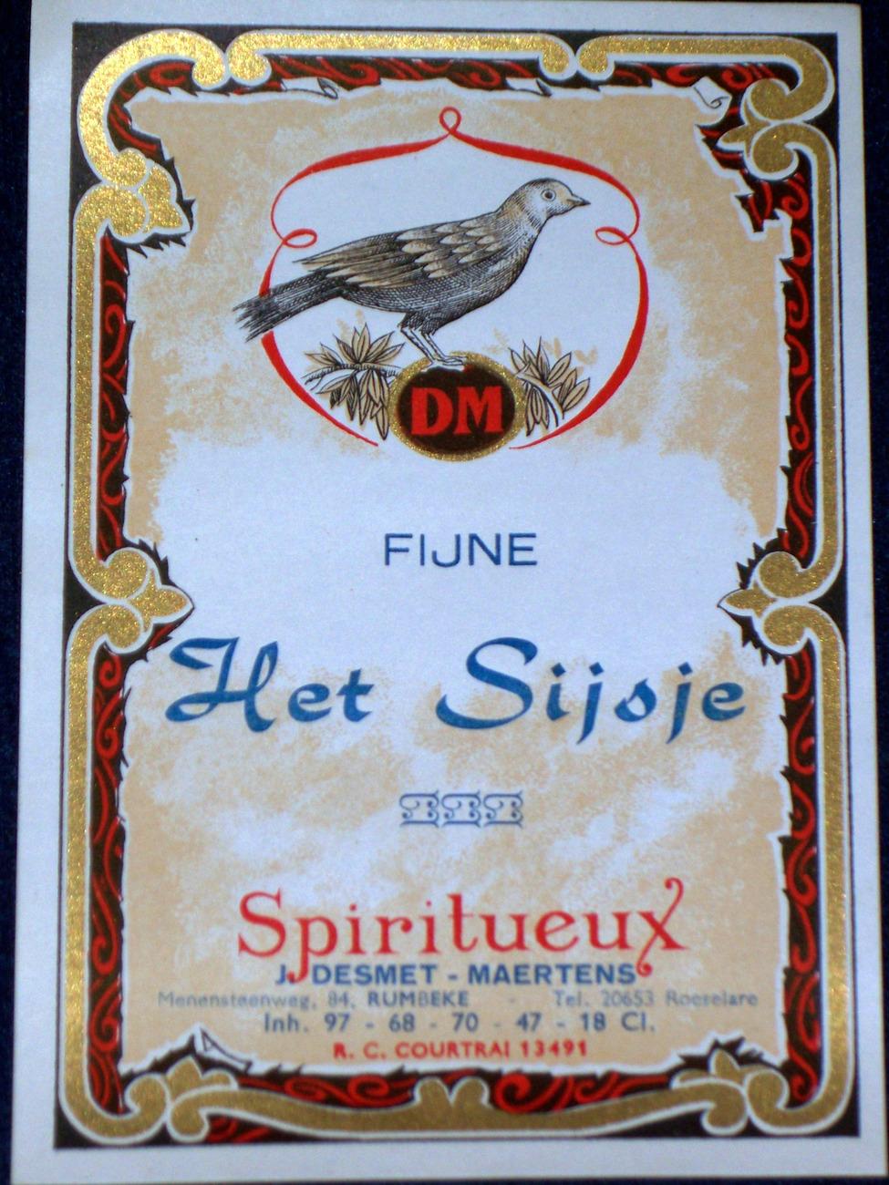 Cute Bird! Fijne Het Sijoje Spiritueux Label, 1930's