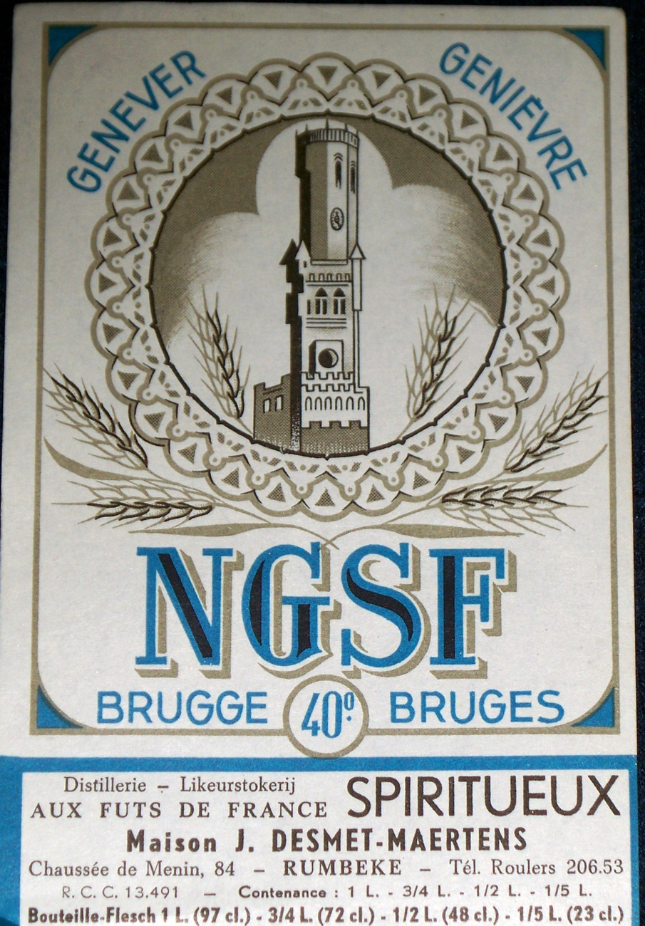 Tower! Genever NGSF (Dutch Gin) Spiritueux Label, 1930s