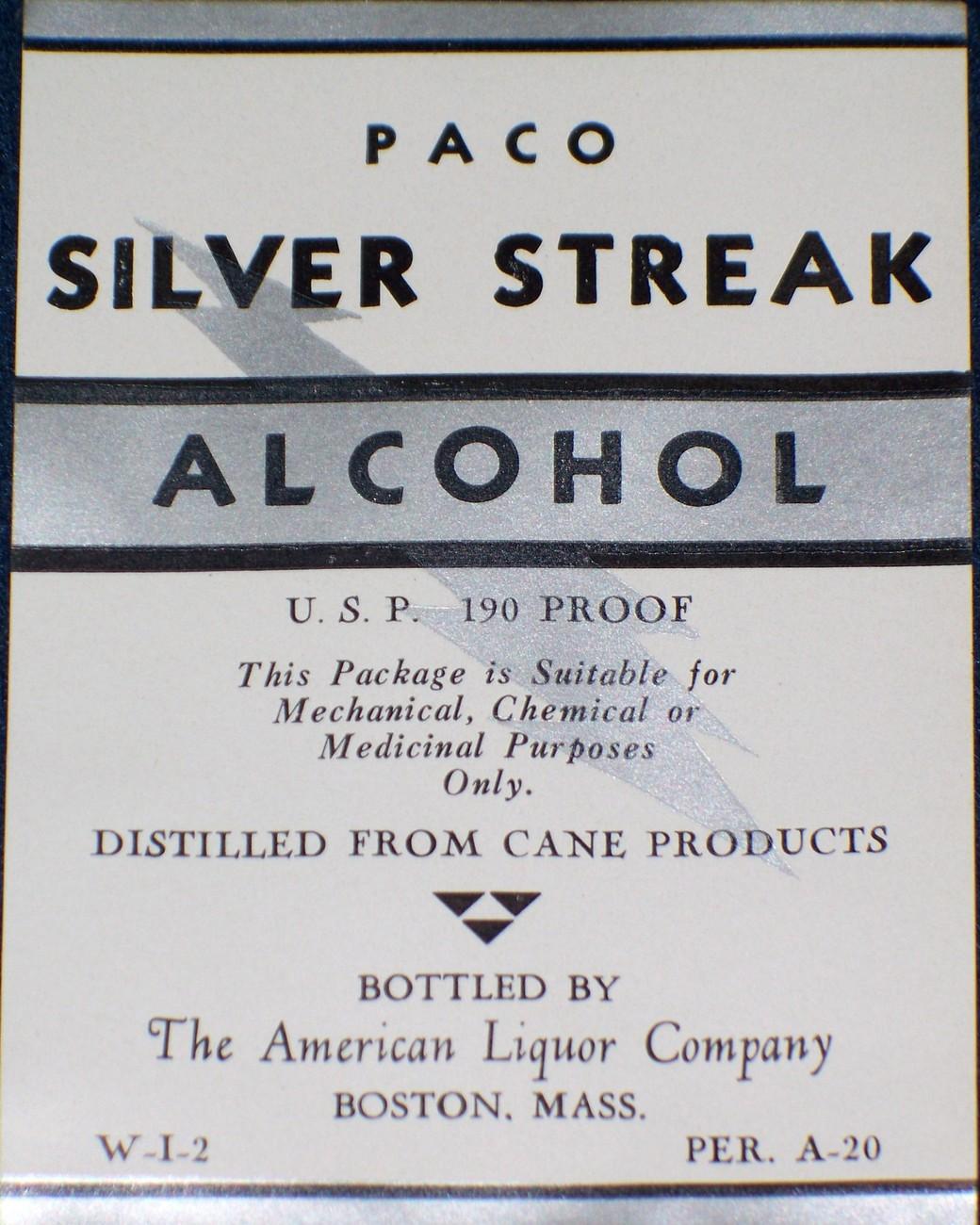 Got Some Kick! Paco Silver Streak Alcohol Label, 1930's