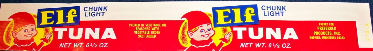 Collectible! Elf Tuna Label