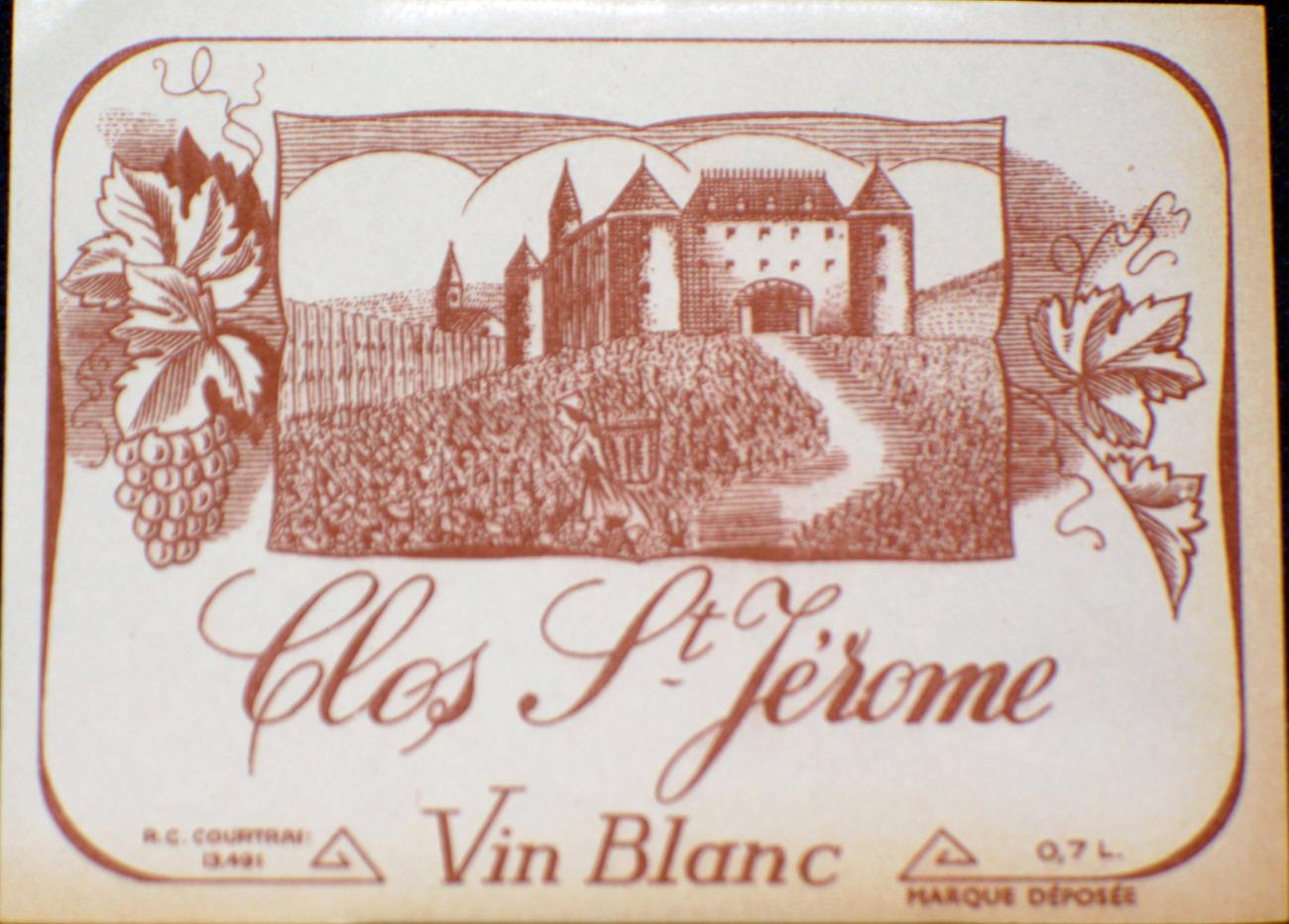 VIN BLANC Clos St. Jerome (White Wine) Label, 1930-50s
