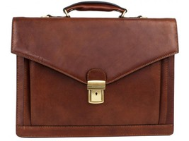 BROWN LEATHER BRIEFCASE - THE MAGUS - $237.00