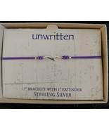 Unwritten Sterling Silver Lightening Bolt Bracelet Purple Rope Friendship - $16.65