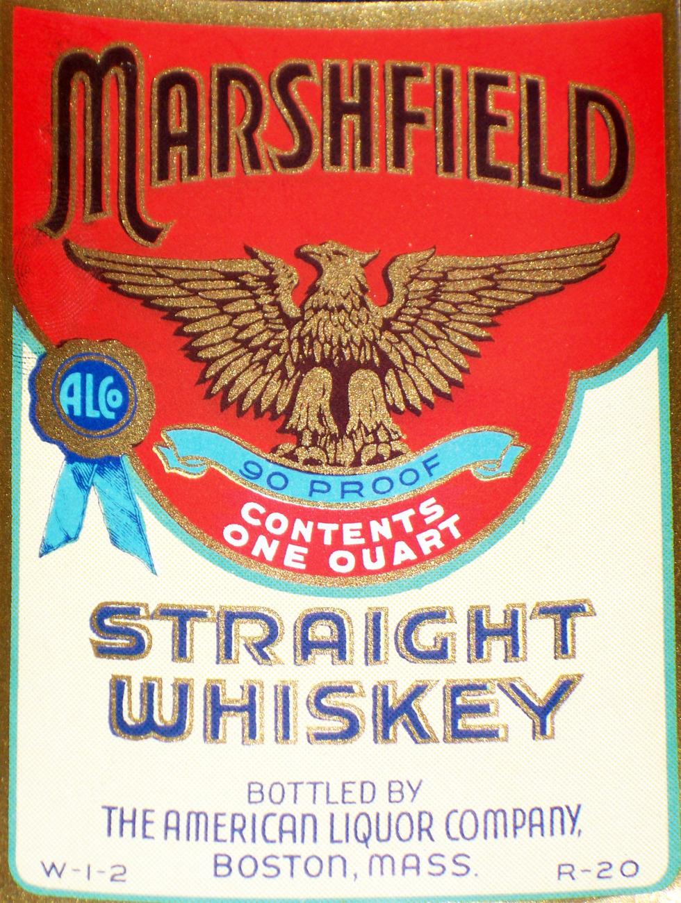 Vintage, Marshfield Straight Whiskey Label, Quart, 1930
