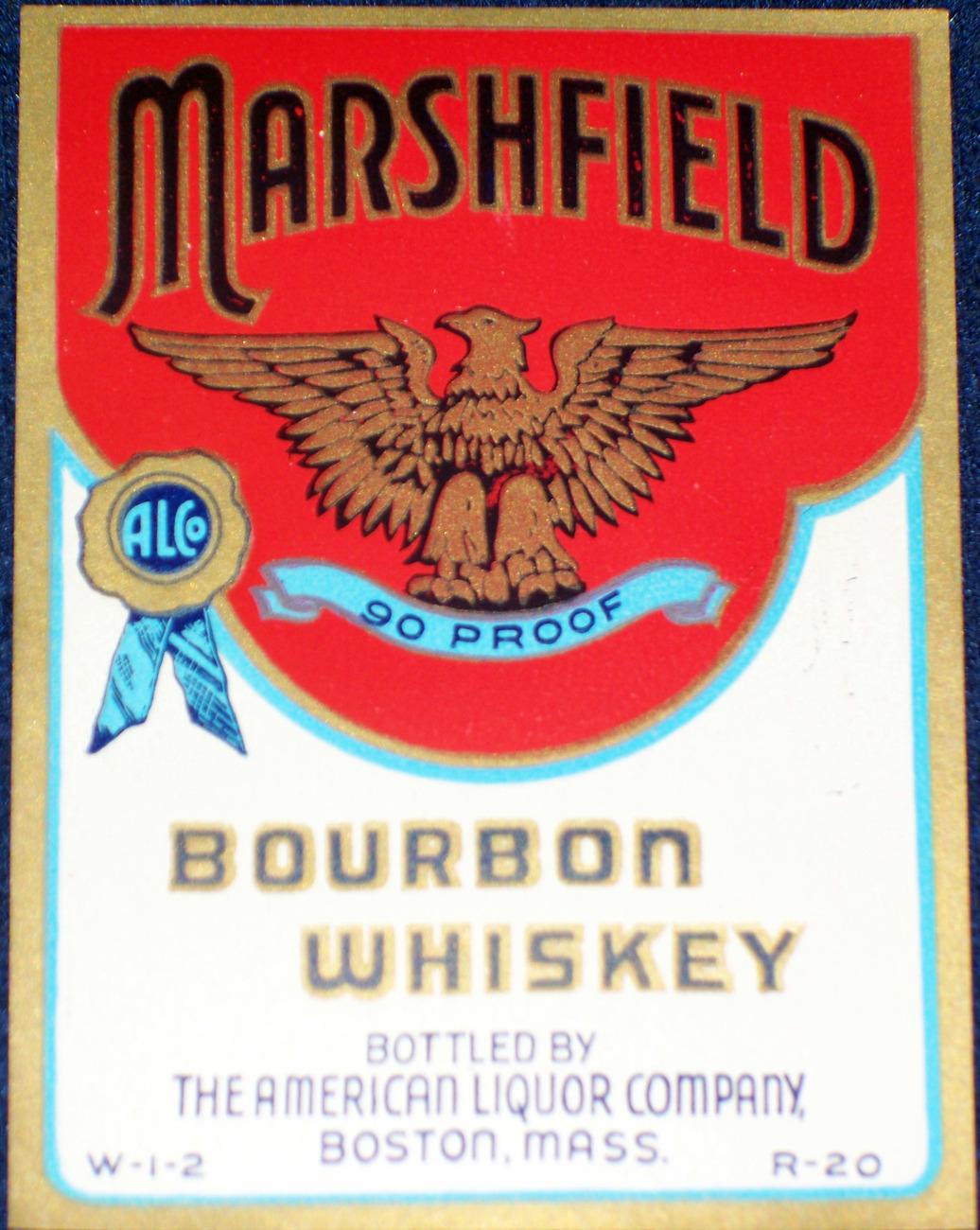 Classic, Marshfield Bourbon Whiskey Label, Quart, 1930'