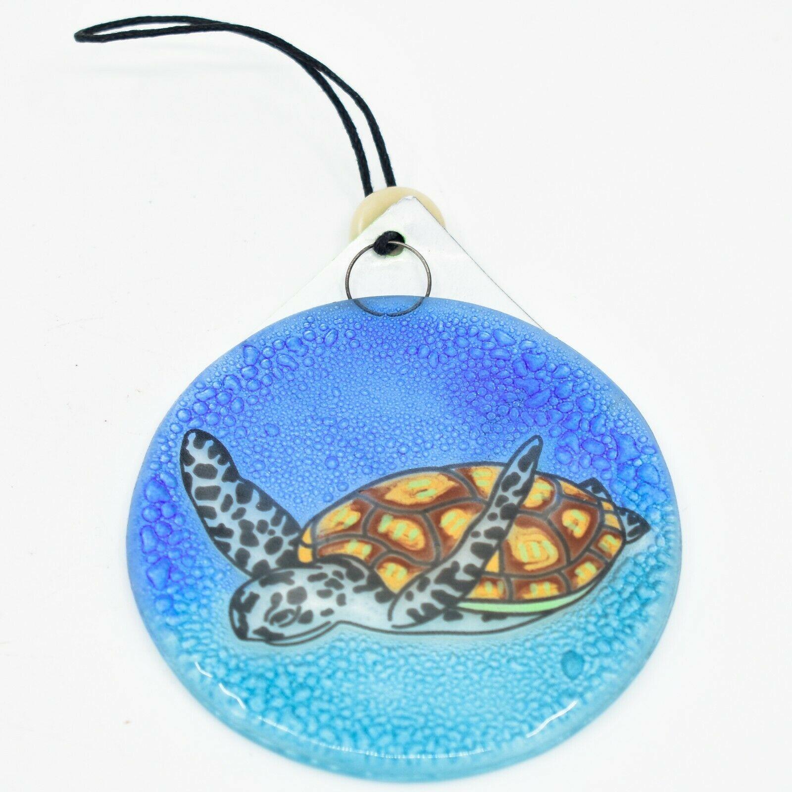 Sea Turtle Marine Ocean Fused Art Glass Ornament Sun Catcher Handmade Ecuador