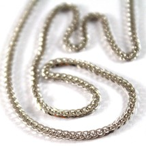 SOLID 18K WHITE GOLD CHAIN NECKLACE WITH EAR LINK 23.62 INCHES, MADE IN ... - $493.00