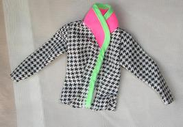 Barbie doll clothes houndstooth print jacket with colorful print trim - $6.99