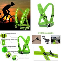 Shineu Led Reflective Safety Vest Usb Charging Elastic Straps Adjustable... - £21.17 GBP