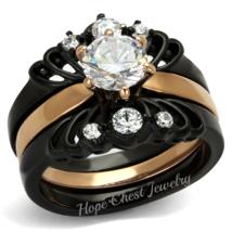 CZ WEDDING RING SET- STAINLESS STEEL BLACK & ROSE GOLD TONE BRIDAL RINGS... - $20.69