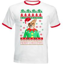 Chihuahua Christmas - NEW RED RINGER COTTON TSHIRT - $19.53