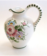 Germany hand painted folk art porcelain pitcher ewer Delft flowers bird  - $49.00