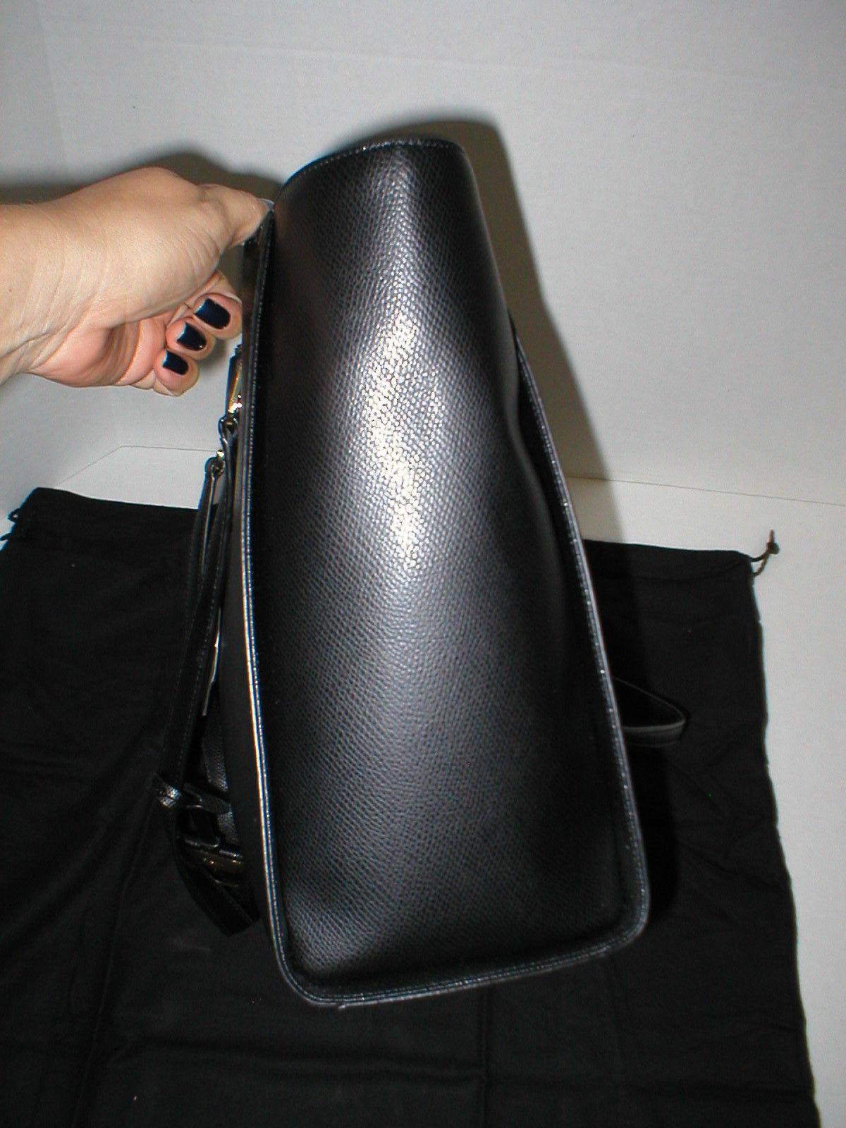 NWT New Womens DKNY Black Double Zip Tote Bag Handbag Large Logo Work Leather