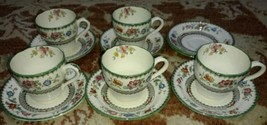 VINTAGE COPELAND SPODE CHINESE ROSE DEMITASSE 5 CUPS 7 SAUCERS    - $59.80