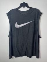 Nike Big Swoosh Gray Sleeveless Athletic Dri-Fit T-Shirt Adult Size XXL - $19.79