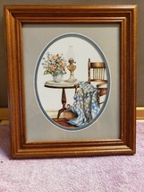 Wood Frame, Oval Matting Rocking Chair Oil Lamp Country Blanket  Art Print - $29.69