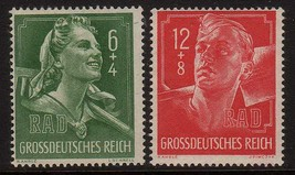 1944 WWII Labor Service Set of 2 Germany Postage Stamps Catalog B281-82 MNH