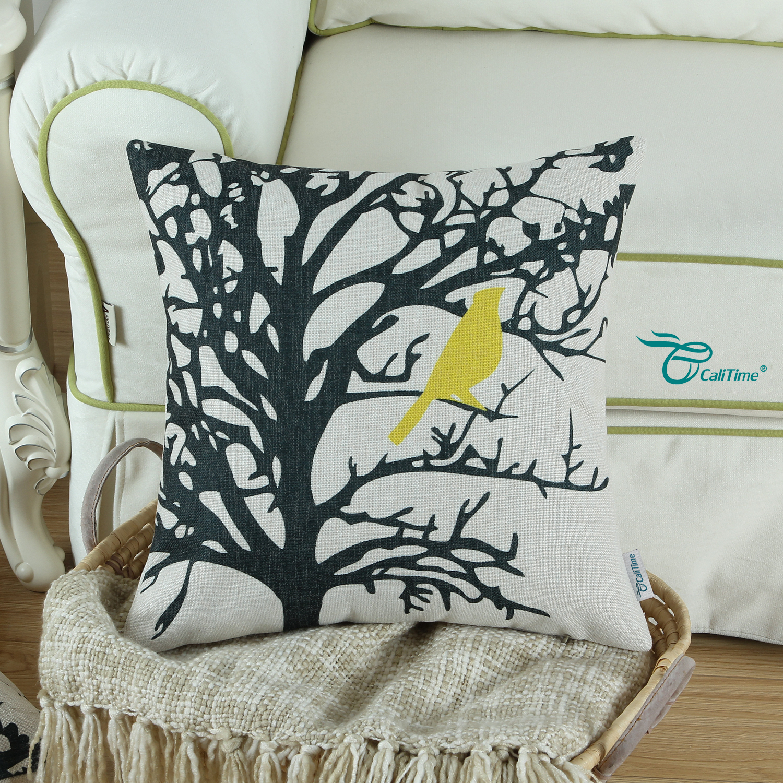 "CaliTime Throw Pillow Cover Vintage Birds Branch 18""X18"" Black Tree Yellow Bird"