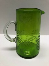 """Green Floral Print Glass Pitcher Vase Home Decor 9"""" Tall - $29.65"""