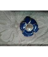 VINTAGE GOLDEN PIN BROOCH FAUX PEARL CENTER PAVE ENAMELLED ROYAL BLUE FL... - $15.00