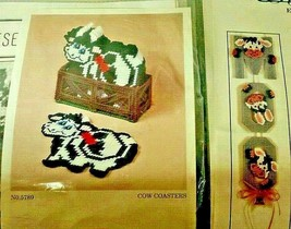 Herrschners Cow Coasters with Fence Holder Moo Cow Bell Sign Plastic Can... - $50.00
