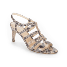 Rockport Women's Lendra Strappy Sandal Leather Snake Print Tan Beige 9M - $26.72