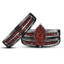His Her Wedding Red Garnet Trio Ring Set 14k Black Gold Over 925 Sterling Silver - $162.99