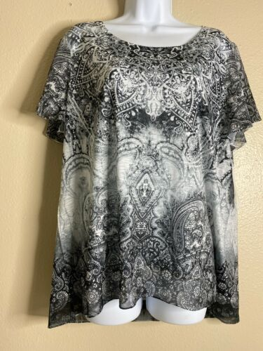 Primary image for NWT Time And True Womens Size L Paisley Tee Shirt Rhinestone Embellished