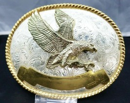 3-D Flying Eagle Belt Buckle Silver Oval Metal w/ Gold Ribbon & Rope Border Usa - $24.99