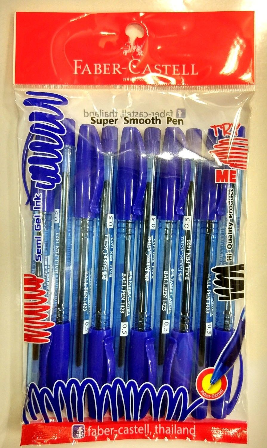 FABER-CASTELL 1423 NEW 10 PENS CLIP BLUE INK ,BARREL BALL POINT PEN 0.5mm.