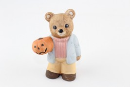 Vintage HOMCO Fall Teddy Bear Figurine Man with Pumpkin Halloween 5209 - $7.92