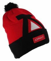 Asphalt Yacht Club Mens Red Black Big A Cuff Fold Skate Beanie Winter Hat NWT image 2
