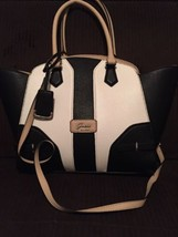 New GUESS  BELVEDERE Large HANDBAG Tote Purse BLACK White Beige  MARCIAN... - $63.36