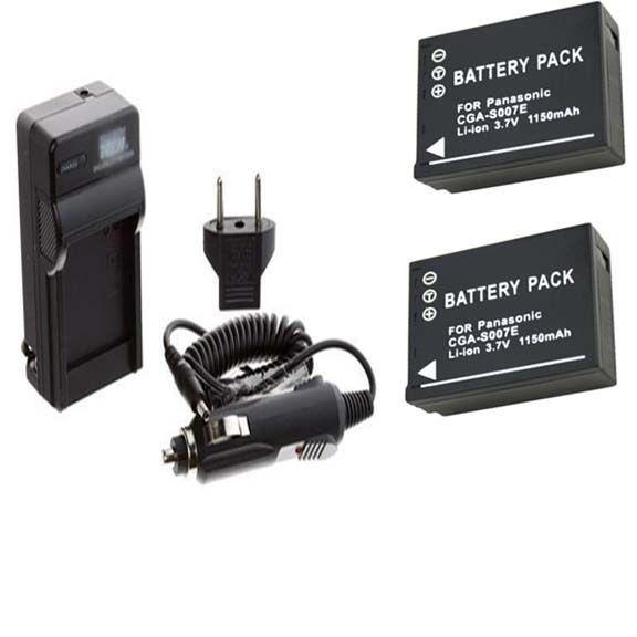 TWO Batteries + Charger for Panasonic DMC-TZ2EG-K DMC-TZ2EG-S DMC-TZ2GK DMC-TZ3 - $26.91