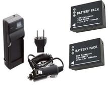 TWO Batteries + Charger for Panasonic DMC-TZ2EG-K DMC-TZ2EG-S DMC-TZ2GK ... - $26.91