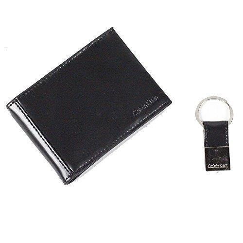NEW CALVIN KLEIN CK MEN'S LEATHER FOLD WALLET KEY CHAIN SET SHINY BLACK 79539