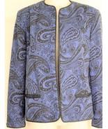Bleyle jacket vintage M? wool blue black paisley print cropped career li... - $9.89