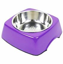 PANDA SUPERSTORE Pet Bowl Dogs/Cats Bowl with Stainless Steel Eating Surface Pur